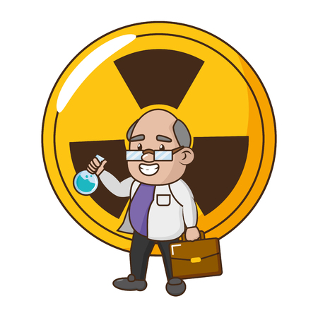 scientific professor with test tube and suitcase vector illustration Banque d'images - 118548207