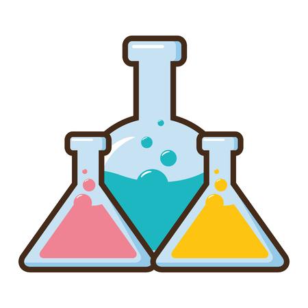 test tubes flask science laboratory vector illustration Ilustracja