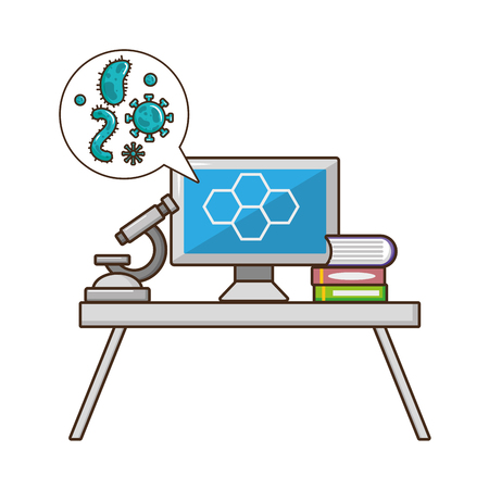 computer microscope books laboratory tool science vector illustration Stock Vector - 118548209