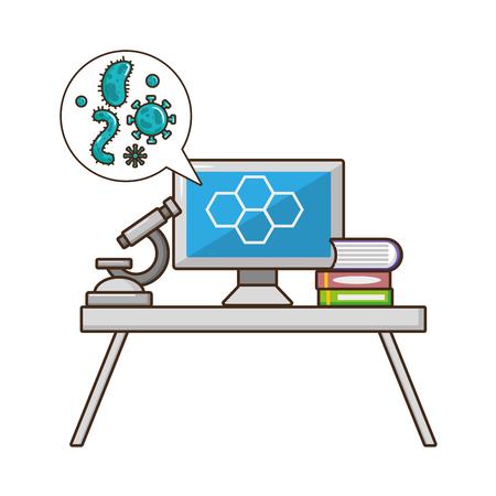 computer microscope books laboratory tool science vector illustration Illustration