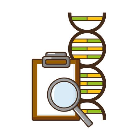 molecule magnifier report analysis laboratory science vector illustration Illustration