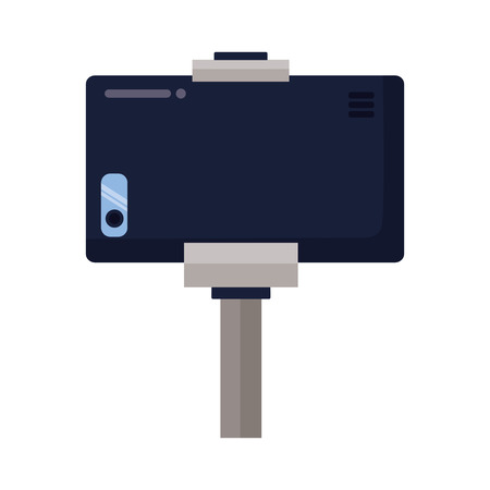 smartphone in selfie stick gadget vector illustration