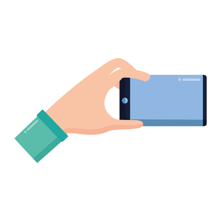 hand with smartphone on white background vector illustration Illusztráció