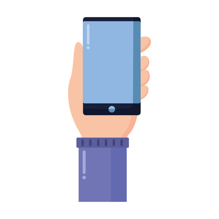 hand with smartphone on white background vector illustration Imagens - 124619016