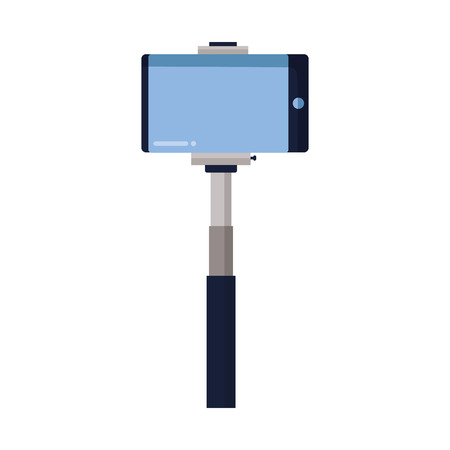 smartphone in selfie stick gadget vector illustration