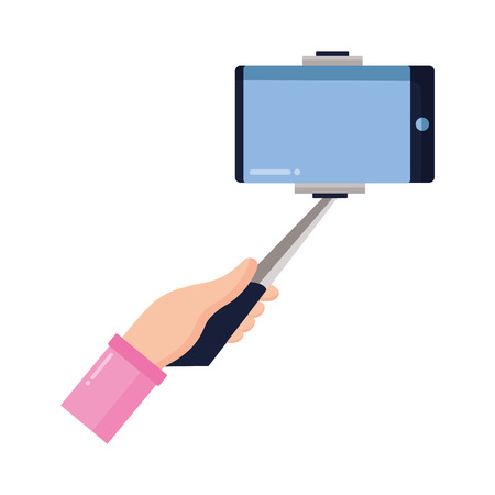 hand with cellphone in stick selfie vector illustration