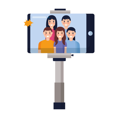 cellhpone people group taking selfie vector illustration