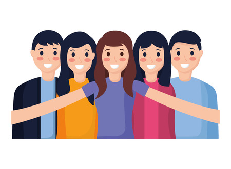 happy people group taking selfie vector illustration