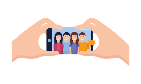 hand with mobile people taking selfie vector illustration Stock fotó - 118548160