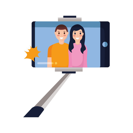 people taking selfie smartphone with stick vector illustration Stock Vector - 124619030