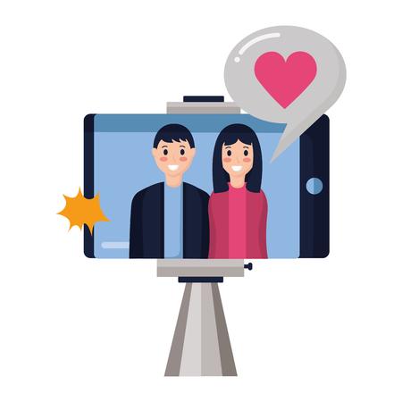 people taking selfie smartphone with stick vector illustration Çizim