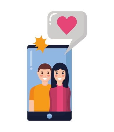 smiling couple taking selfie with mobile vector illustration