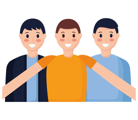smiling friends men taking selfie vector illustration Illustration