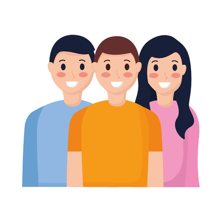 smiling friends men and woman taking selfie vector illustration