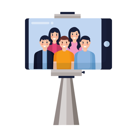 happy people group taking selfie vector illustration Stock fotó - 118548177