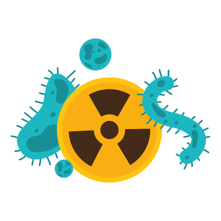 bacteria cells and radiation sing science vector illustration  イラスト・ベクター素材