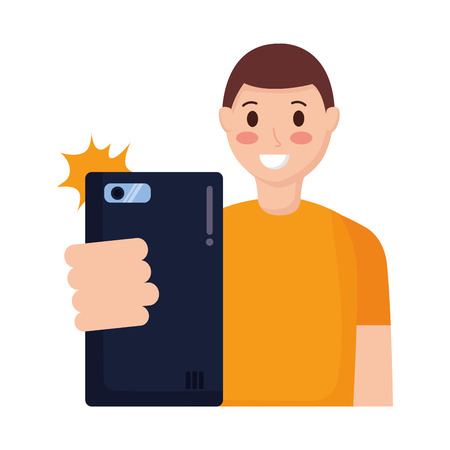 young man with mobile taking selfie vector illustration Illustration