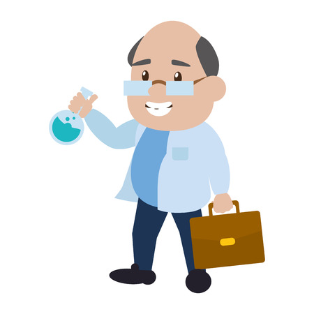 scientific professor with test tube and suitcase vector illustration Stock fotó - 124619039