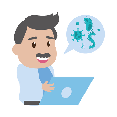 scientific professor laptop talk virus laboratory science vector illustration