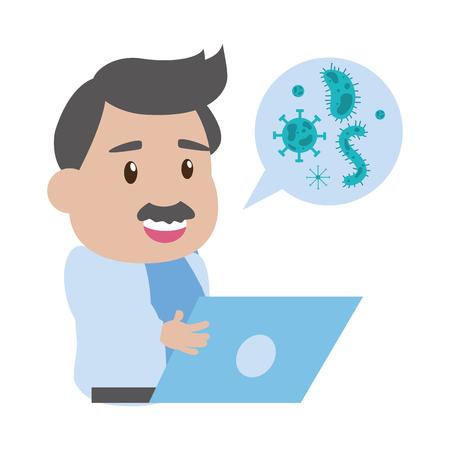 wissenschaftlicher Professor Laptop-Gespräch Virus-Labor-Wissenschaft-Vektor-Illustration Vektorgrafik