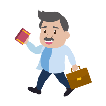 scientific professor with book and suitcase vector illustration 向量圖像