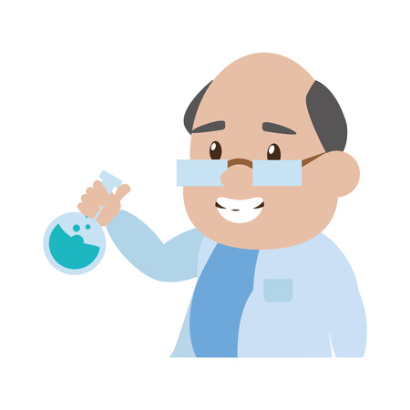 scientific professor with flask laboratory science vector illustration Banque d'images - 124619048