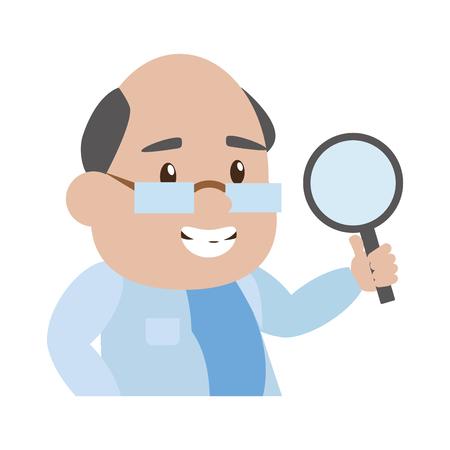 scientific professor magnifying glass laboratory science vector illustration Stock fotó - 118538474