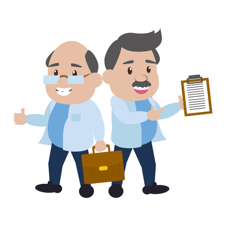 scientific professors with suitcase and clipboard science vector illustration