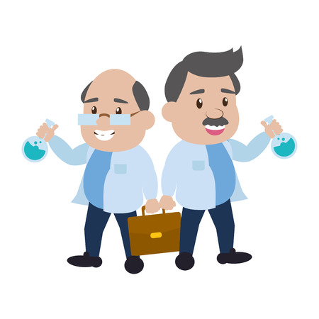 scientific professors with suitcase and test tubes science vector illustration