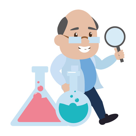 scientific magnifying glass test tubes laboratory science vector illustration Stock Vector - 124619061