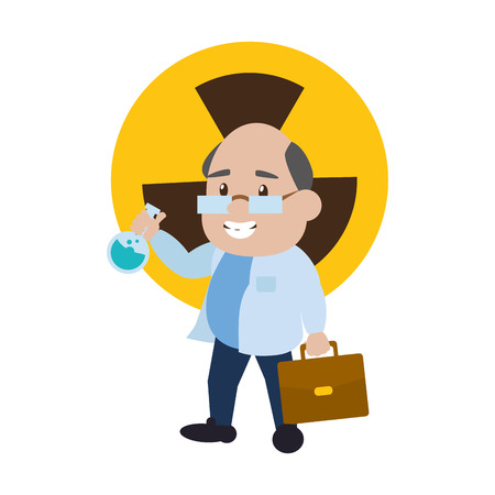 scientific professor with test tube and suitcase vector illustration Banque d'images - 118548144