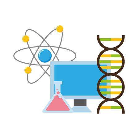 computer flask molecule laboratory science vector illustration