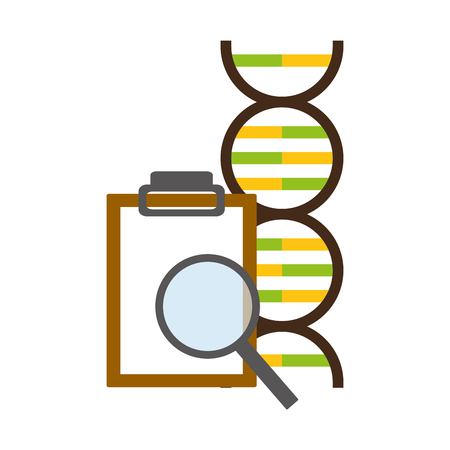 molecule magnifier report analysis laboratory science vector illustration  イラスト・ベクター素材