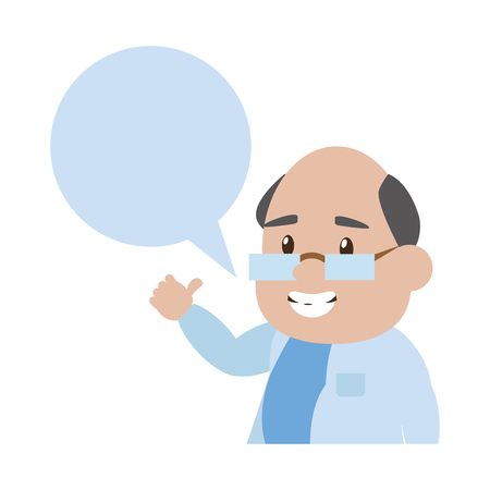 scientific professor character speech bubble vector illustration