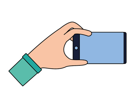 hand with smartphone on white background vector illustration 일러스트