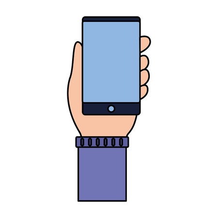 hand with smartphone on white background vector illustration Illustration