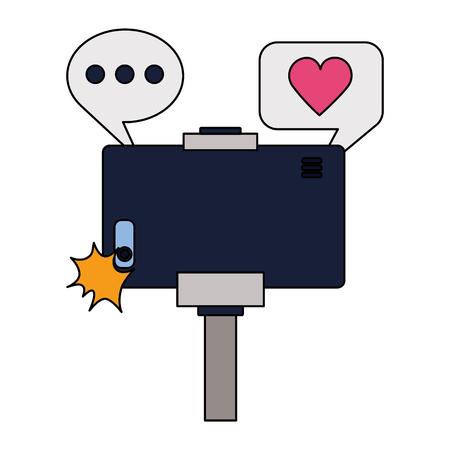 smartphone with stick taking selfie vector illustration Stock Vector - 124619075