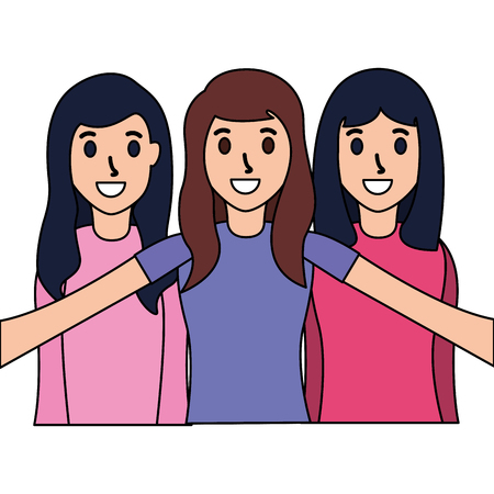 smiling friends women taking selfie vector illustration Illustration