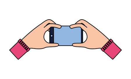 hands with smartphone on white background vector illustration