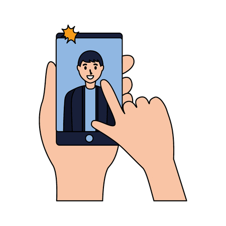 smiling young man taking selfie vector illustration Ilustracja