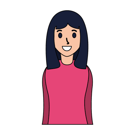 smiling woman portrait on white background vector illustration