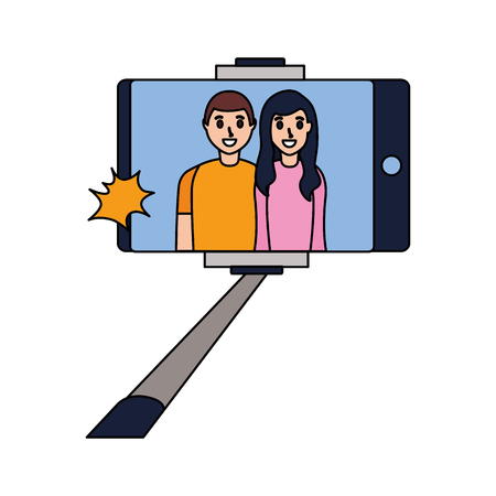 people taking selfie smartphone with stick vector illustration Illustration