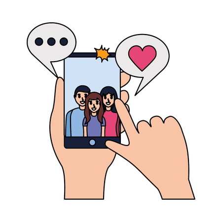 hands with mobile people taking selfie vector illustration Illustration
