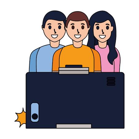 cellphone people group taking selfie vector illustration Illustration