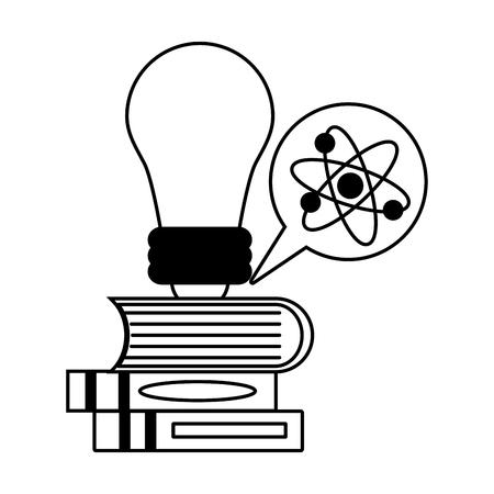 bulb books atom molecule science vector illustration monochrome
