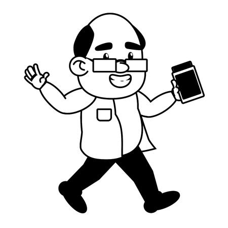 scientific professor with bottle laboratory science vector illustration monochrome Illustration