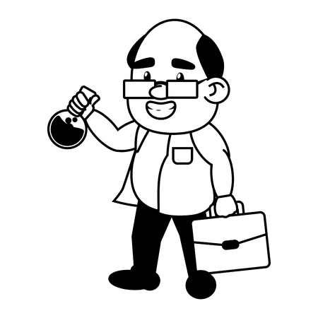 scientific professor with test tube and suitcase vector illustration monochrome Banque d'images - 118548155