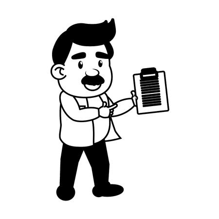 Informe del profesor científico ciencia de laboratorio ilustración vectorial monocromo