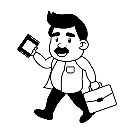scientific professor with book and suitcase vector illustration monochrome 向量圖像