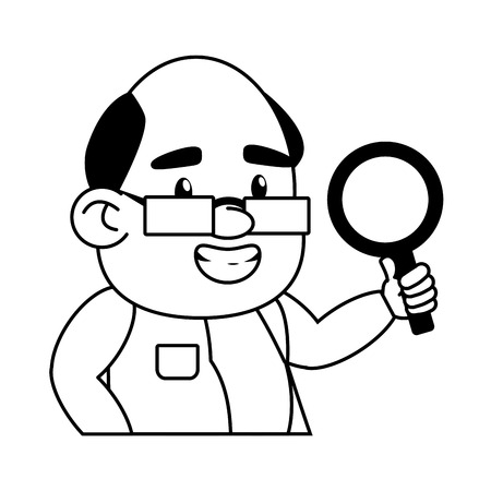 scientific professor magnifying glass laboratory science vector illustration monochrome Stock fotó - 124624421